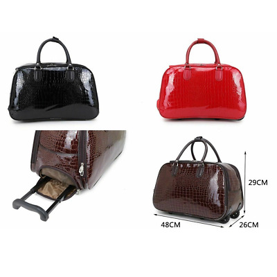 Women's Patent Leather Cabin Size Mock Croc Trolley Holdall Travel Weekend Bag  • 22.99£