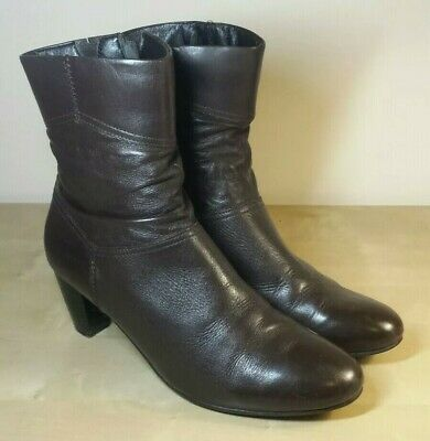 PAVERS - UK 7 Women's Brown Leather Side Zip Heel Ankle Boots EU 39  • 9.99£