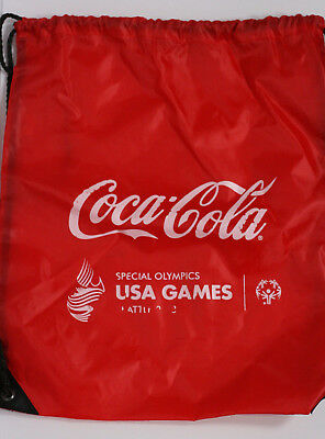 Coca Cola Special Olympics Collectible Seattle Cinch Bag Backpack Red White GUC • 4.60£