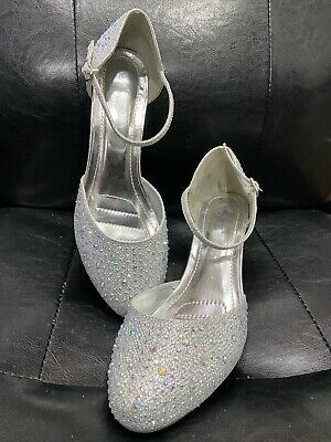 Pre Owned Diamante  Heel Shoes With Ankle Strap. Size 7 • 15£