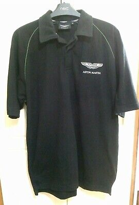 ASTON MARTIN BLACK POLO SHIRT Short Sleeves, Emblem Front+back, Generous M • 3.99£