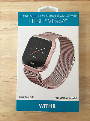 $ CDN34.84 • Buy NEW In Box WITHit Fitbit Versa 3 Mesh Stainless Steel Metal Watch Band Rose Gold