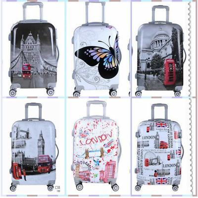 20''Cabin  Luggage Suitcase Hard Shell Lightweight 4 Wheel Spinner Strong ABS/PC • 27.99£