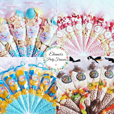 £1.40 • Buy Pre Filled Sweet Cones Party Bags,Personalised Sticker Any Theme/Text/boys,girls