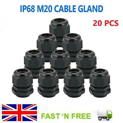 £6.99 • Buy 20 M20 Nylon Cable Glands 20mm Waterproof IP68 Compression Stuff Locknut Washer