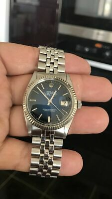 AU6750 • Buy Superb Rare Vintage Rolex Datejust 1601 Vignette Blue Dial 18k White Gold Fluted