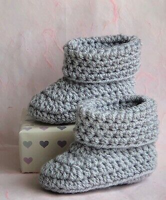 Crochet Knitted Baby Bootees Boots Booties Shoes Unisex 0 - 12 Month Silver Grey • 6.95£