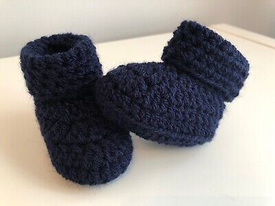 Crochet Knitted Baby Bootees Boots Booties Shoes Various Sizes - Navy Blue • 7.25£