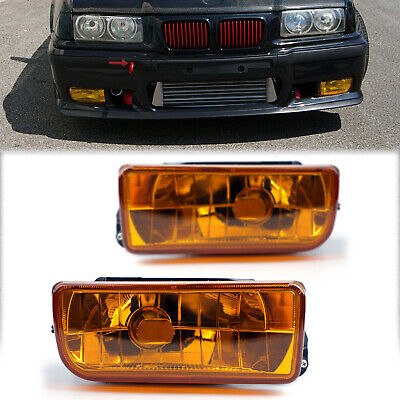 $30.59 • Buy For BMW 92-98 E36 3 Series 2/4D Replacement Fog Lights Lamps Crystal Yellow BS3