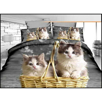 Cats In A Basket Bedding Set Single Duvet Cover Pillow Case Bed Set • 9.89£