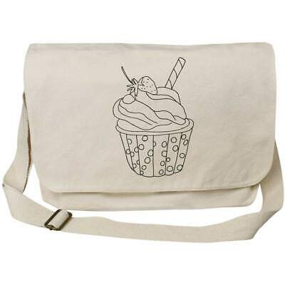 'Strawberry Cupcake' Cotton Canvas Messenger Bags (MS023231) • 14.99£