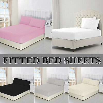 Extra Deep Fitted Sheet Bed Sheets Single Double King Size 100% Poly Cotton 40cm • 8.19£