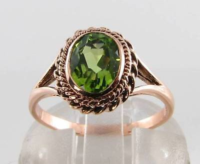 £199 • Buy Large 9ct 9k Rose Gold Aaa Peridot Solitaire Art Deco Ins Ring Free Resize