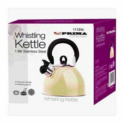 2.5l Cream Stainless Steel Whistling Stove Top Kettle - Gas Electric Ceramic • 9.99£
