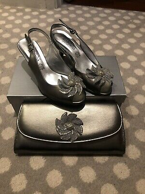 Zodiaco Italian Leather Shoes And Bag Pewter Flower • 19.99£