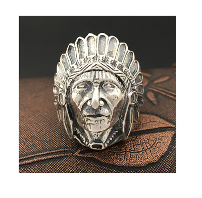 £33.99 • Buy Indian Head Chief Ring - 925 Sterling Silver - Native American Biker Jewelry