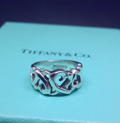 Tiffany & Co Sterling Silver Paloma Picasso Loving Heart Ring * Usa 4 / Uk: I • 189£