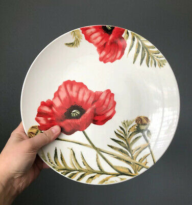 "$29.99 • Buy Two Dinner Plate Roscher & Co Red Poppies Poppy Flowers 10 1/2"" Ceramic"