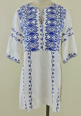 $ CDN17.22 • Buy TINY ANTHROPOLOGIE Womens Sz XS Cream Blue Embroidered V-Neck Tunic Top EXC