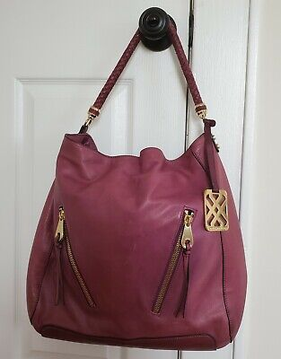 $34.99 • Buy Joelle Hawkens By Treesje Sydney Large Leather Shoulder Bag Tote Purse Purple