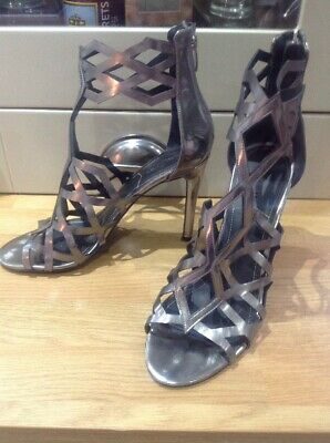 Kendall & Kylie Silver/pewter Strappy High Heel Shoes U.K. 6.5 • 7.99£