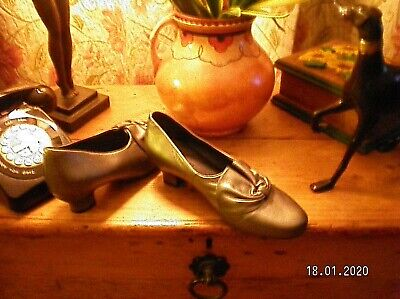 Hotter Donna Leather Pewter Heeled Shoes - Size UK 7 EXF - Worn Once In House • 25£
