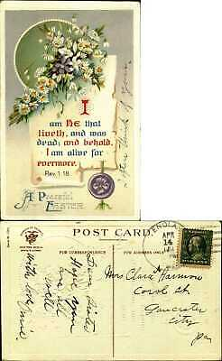 $ CDN1.99 • Buy Easter Revelation1-18 Bible Verse ~daisies Violets Scroll~1911 To CLARA HARMON