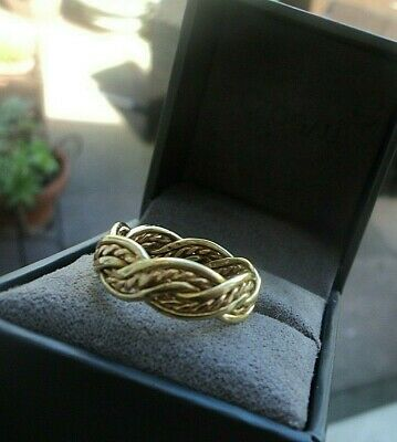 Early Clogau Welsh 18ct Rose & Yellow Gold Celtic Weave Ring H/m 1996  -  Size N • 498£