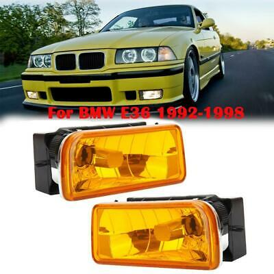 $29.99 • Buy For 1992-1998 Bmw E36 3 Series Fog Lights Lamps Crystal Yellow Lens Replacement