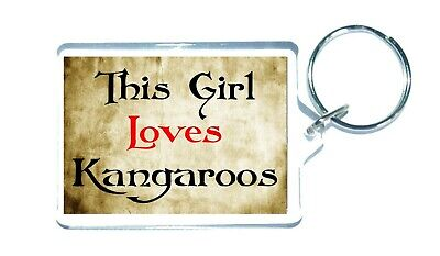 Kangaroo Keyring - This Girl Loves - Funny Novelty Animal Custom Gift Present • 3.25£