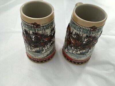 $ CDN26.89 • Buy Anheuser-Busch Stein Set 1988 Hitch In Festive Holiday Harness Country Bridge