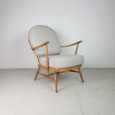 Ercol Windsor Arm Chair Refurb'd Blonde French Ticking Retro Vintage #2878 • 449£