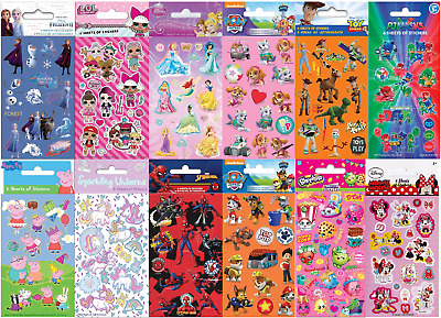 Childrens Character Stickers 6 Sticker Sheets Fun Party Pack Loot Bag Fillers • 1.99£