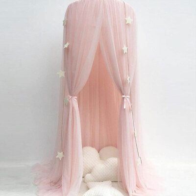 Bed Canopy  Round Dome Pink Mosquito Net Princess Bedroom Decor For Baby Kids UK • 22.49£