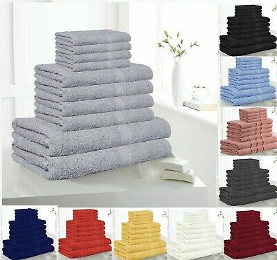 10 Piece Bathroom Bath TOWELS Face Hand Sheets Soft Egyptian Cotton Gift Sets • 12.99£