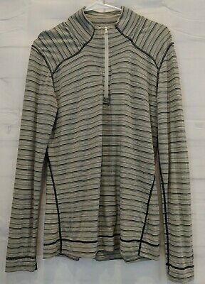 $18.56 • Buy Smart Wool Size XL Women's 1/4 Zip Striped Base Layer Gray White