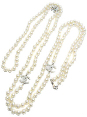 £1260.22 • Buy Chanel Classic Silver CC Faux Pearl Long Necklace Excellent Condition Auth