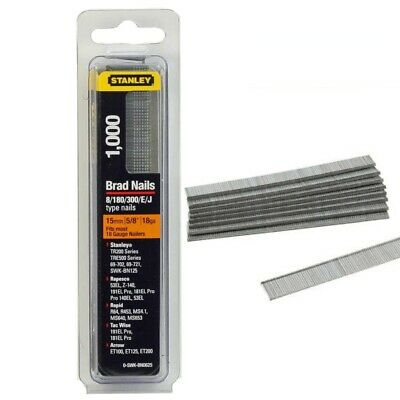 Stanley 15mm 5/8  Brad Nails Pack 1000 Fits Most 18 Gauge Nail Staples Carpentry • 5.05£