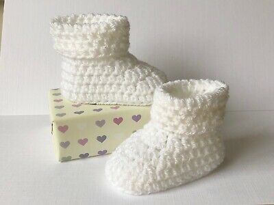 Crochet Knitted Baby Bootees Boots Booties Premature Baby - 12 Months • 7.50£