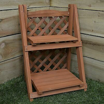 New 2 Tier Shelf Wooden Pot Plant Planter Flower & Trellis Herb Garden Ornament • 16.95£
