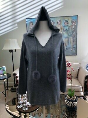 $75 • Buy NWOT PLY Cashmere 100% 2-Ply Cashmere Gray Hoodie V-Neck Sweater Size S
