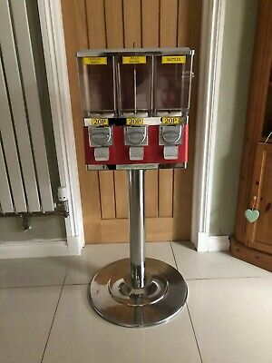 Red Retro Sweet Machine X 3 Dispensers - Coin Operated With Chrome Stand • 104£