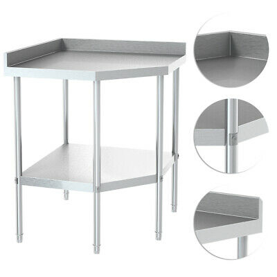Stainless Steel Commercial Catering Corner Table Work Bench Kitchen Top W/ Shelf • 211.14£