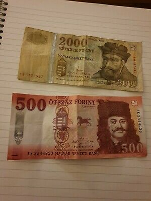 Hungarian Forint Banknotes Money 2500  Used Condition In Circulation • 1.20£