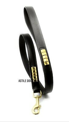 £17.99 • Buy Leather Dog Lead Studded With Gold Studs Black Leather And Brass Trigger Hook