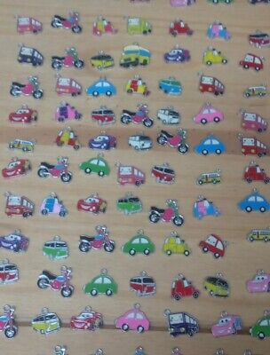 Set Of 7 Various - Colourful Car Bike Van Bus Enamel Jewellery Charms - (D6p) • 3.99£