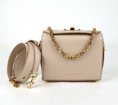 AU955.38 • Buy $1990 Alexander McQueen Box 19 Nude Leather Bag With Gold Chain 501105 9900