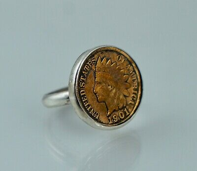 £34.79 • Buy 1901 US Indian Head Cent Sterling Silver Vintage Ring Sz 6 Penny IHC Coin Copper