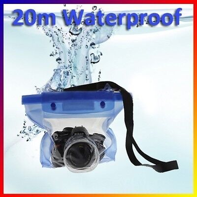 Waterproof DSLR/SLR Camera Pouch Dry Bag Underwater For Canon Nikon Blue 20M#N • 5.29£