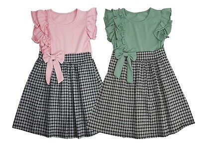 Girls Kids Frill Bow Checked Skirt Summer Party Casual Textured Skater Dress • 9.09£